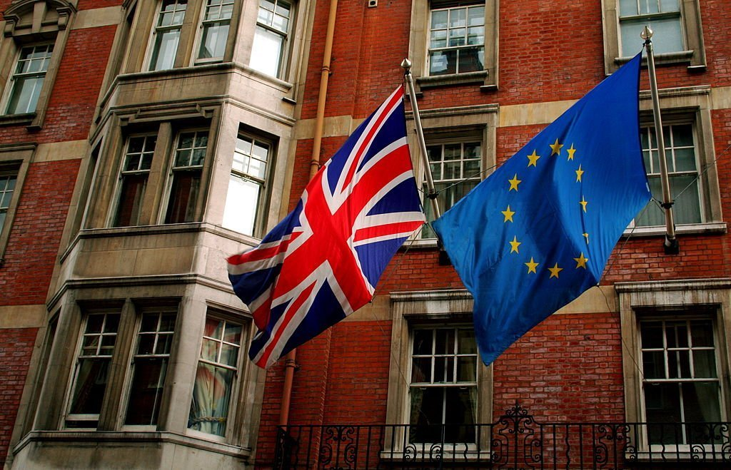 British and EU flags flying