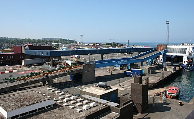 Port of Larne harbour showing ferry loading ramps
