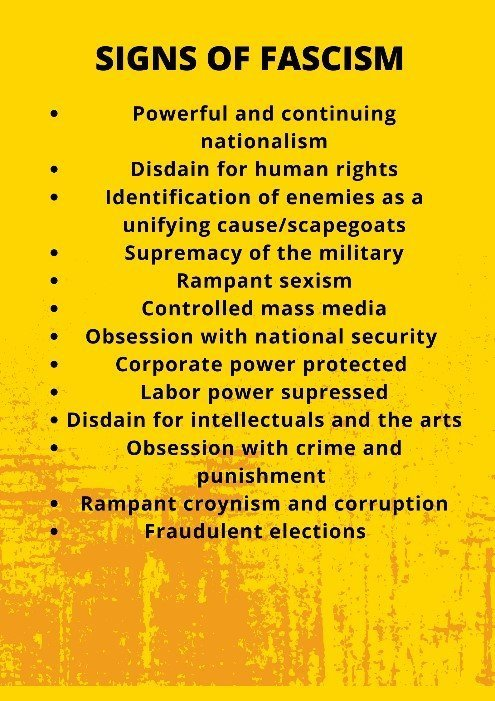 List of signs of fascism: powerful and continuing nationalism; disdain for human rights; identification of enemies as a unifying cause/scapegoats; supremacy of the military; rampant sexism; controlled mass media; obsession with national security; corporate power protected; labour power suppressed; disdain for intellectuals and the arts; obsession with crime and punishment; rampant cronyism and corruption; fraudulent elections.