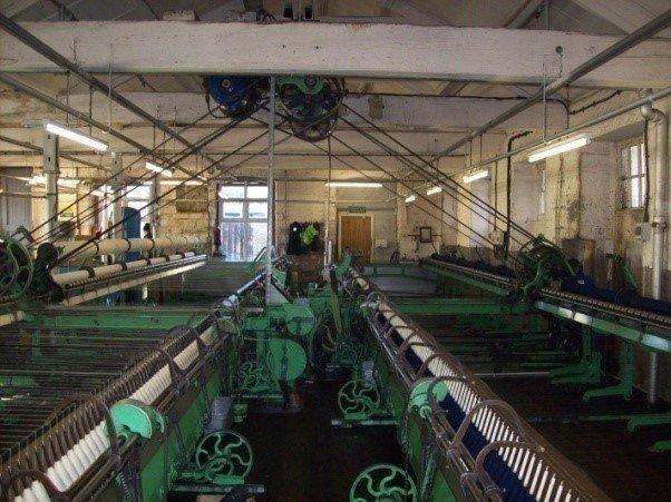 Machinery inside a mill.