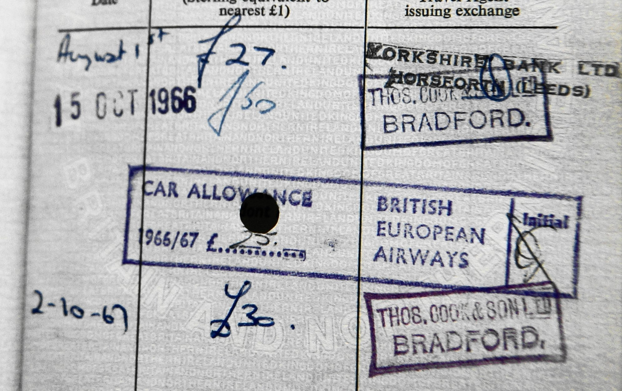 """Picture showing the """"car allowance"""" stamp in Ray's passort"""
