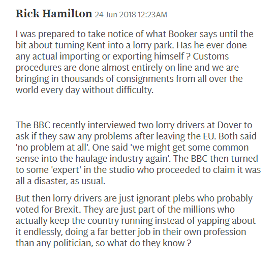 """Letter from Rick Hamilton dismissing Booker's suggestion that there would need to be lorry parks in Kent.  He says customs procedures are done online, with 1,000s completed every day, no problem. He then said the BBC had interviewed 2 lorry drivers who said they didn't see any problems at all, but then the BBC spoke to a so-called """"expert"""" who said it would be a disaster.  He then concludes that the BBC probably thinks the lorry drivers are ignorant plebs who voted for Brexit and don't know what they're talking about."""