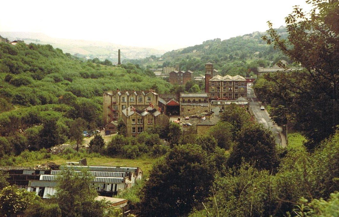 View across greenery and shrubbery to mills.