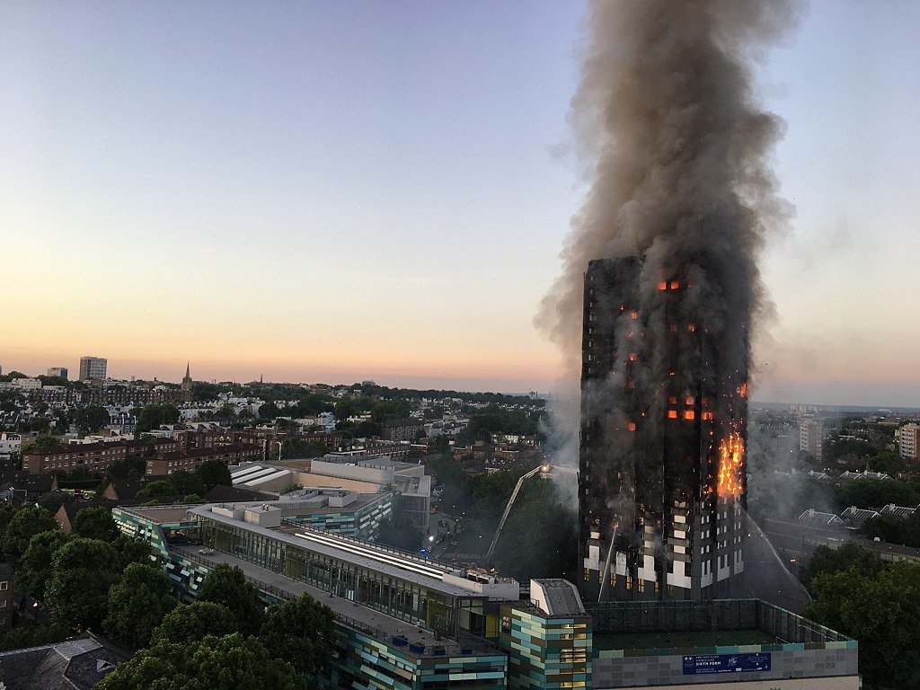 Image description: Grenfell Tower in the aftermath of the fire
