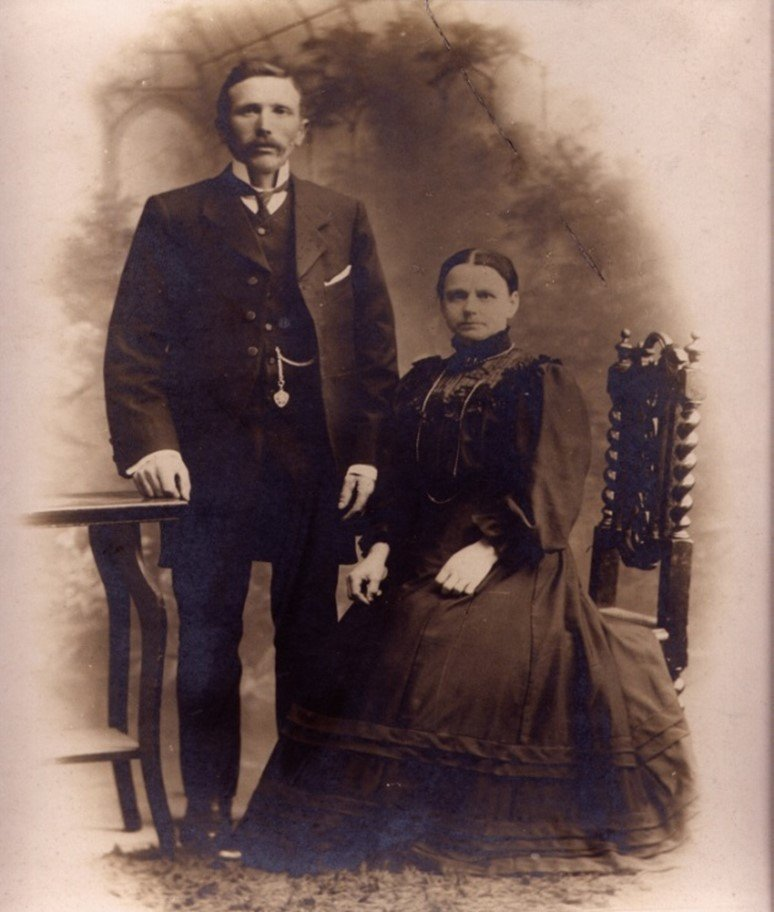 Photograph shows Great Granddad wearing the same watch during his wedding to Great Grandma Louisa, on the 23rd of May 1886. he was 21 years old and she was 23.