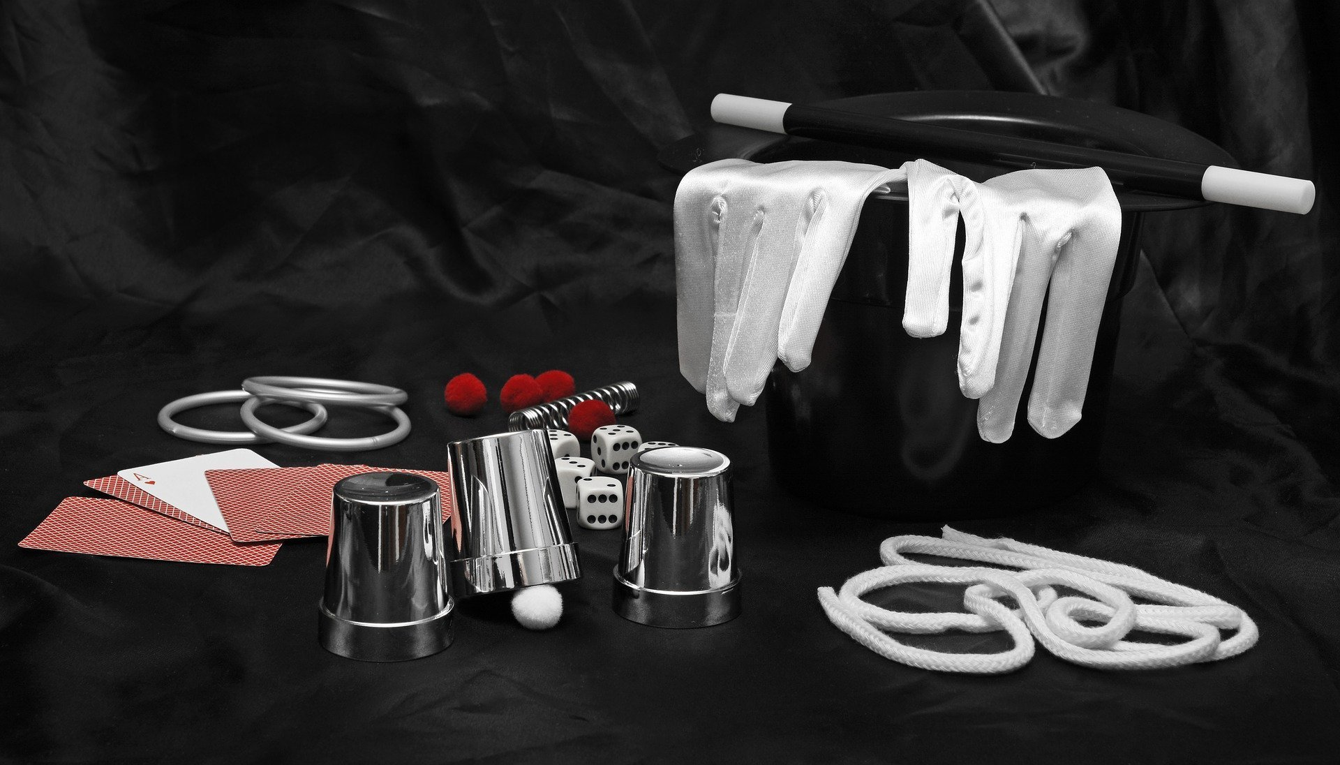 Picture of magician's equipment including top hat, white gloves and a wand