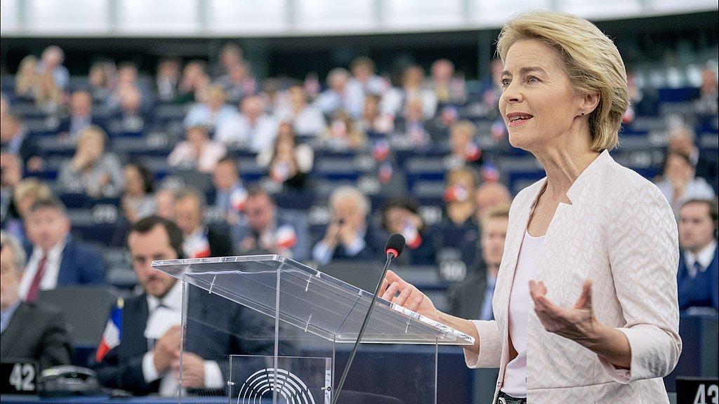 Commission  President Ursula von der Leyen addressing MEPs  in the European parliament