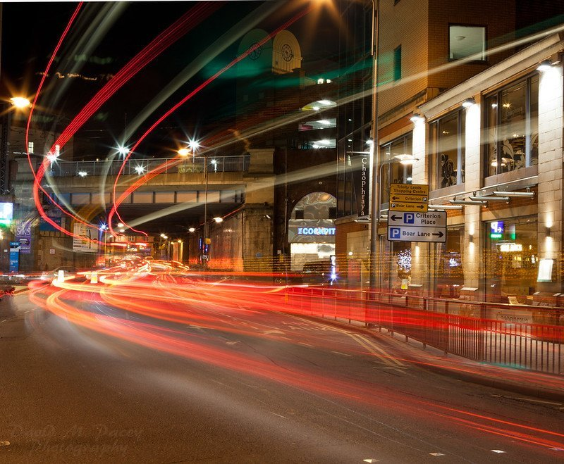 Light trails left behind by traffic in Leeds from the car headlights
