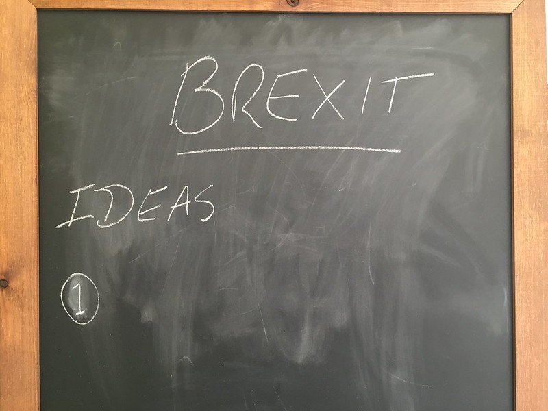 Image of a chalk board showing Brexit Ideas, with nothing further written there