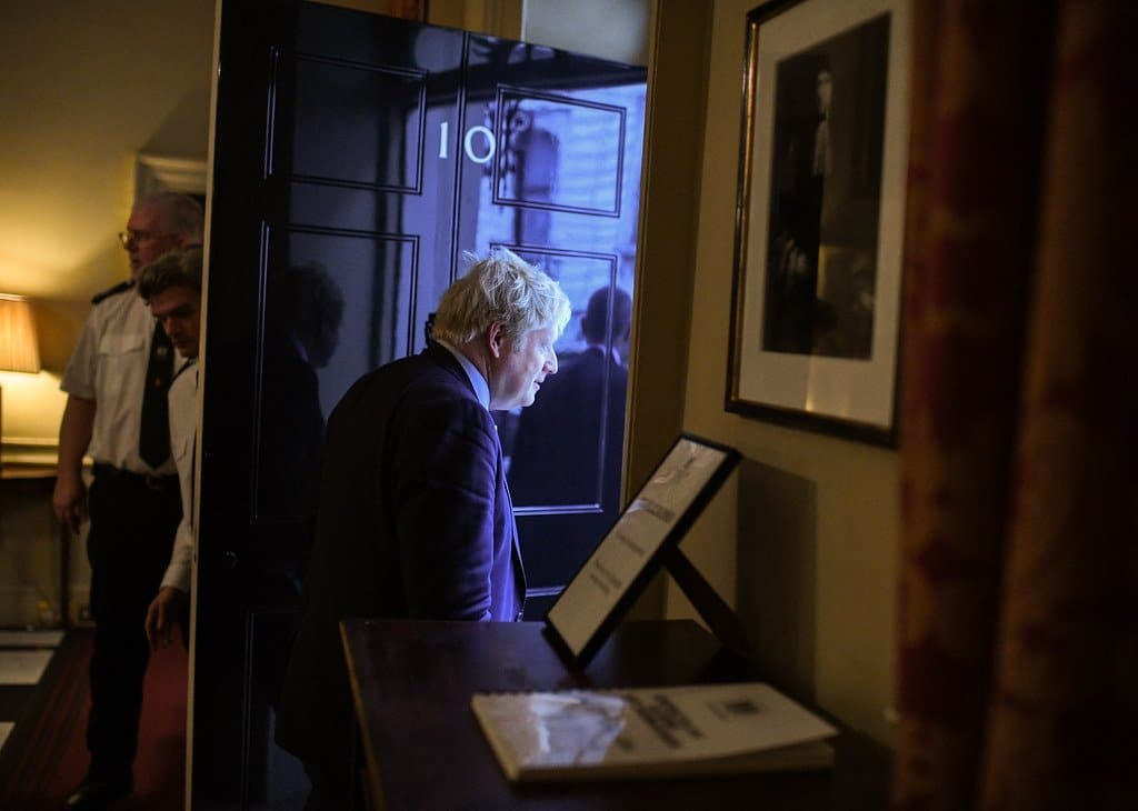 Image description: Boris Johnson leaving Number 10 Downing Street.
