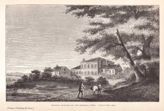 Image description: A print depicting the Retreat: an isolated square building in the Yorkshire countryside. A man drives a laden mule in the foreground.