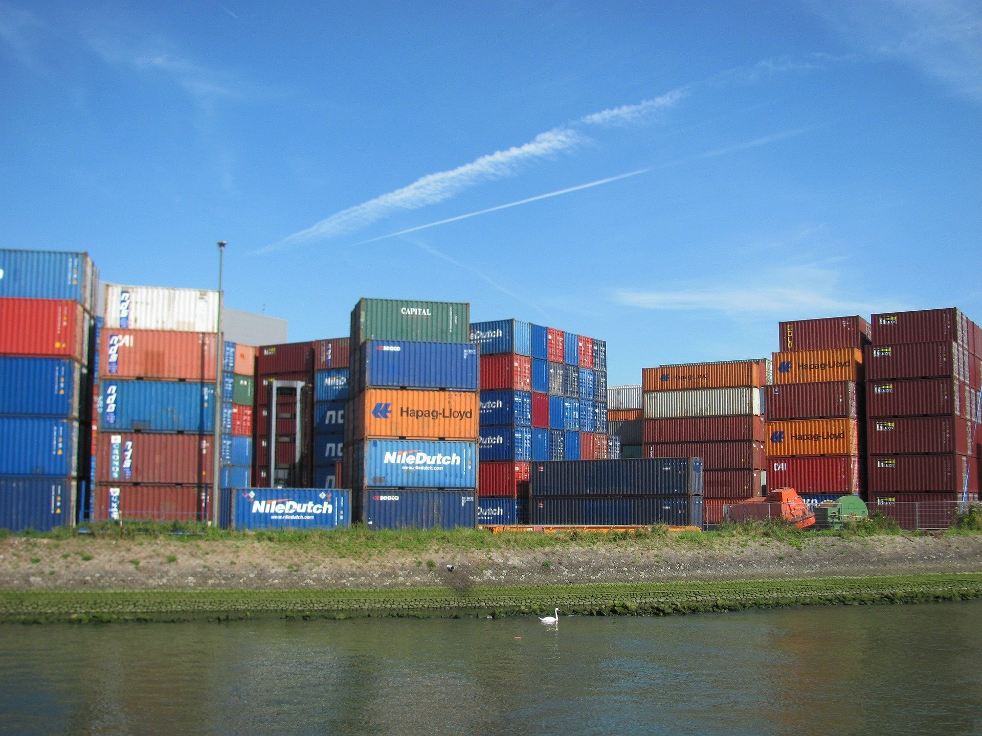 Shipping containers stacked at Rotterdam in Holland.