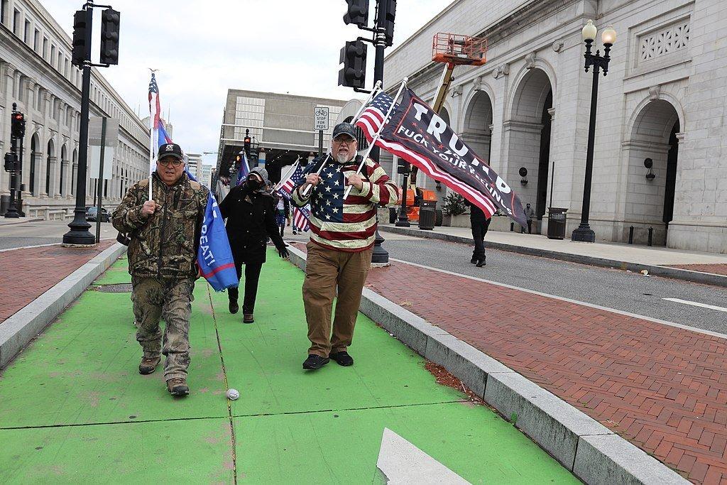 Trump Supporters at Union Station Columbus Circle along 1st Street at Massachusetts Avenue, NE, Washington DC on Wednesday morning, 6 January 2021