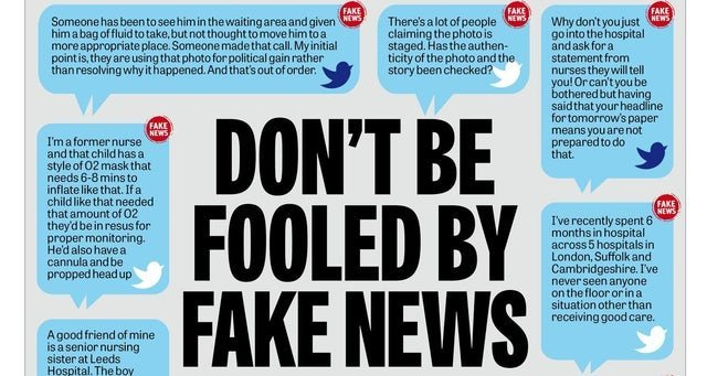 """Graphic shows """"don't be fooled by fake news"""""""