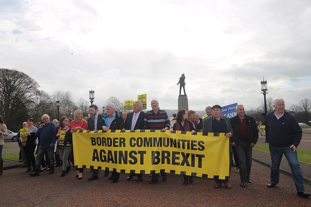 Protesters against a hard border in Ireland at Stormont