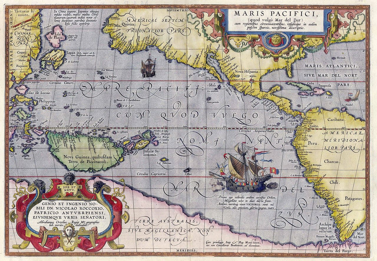 Image description: an ancient map of the Pacific Ocean, with all the countries the wrong side. The text is in Latin.