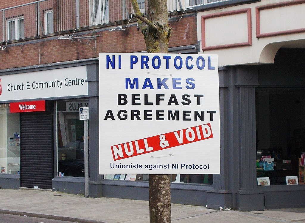 Anti NI Protocol poster in Larne, March 2021
