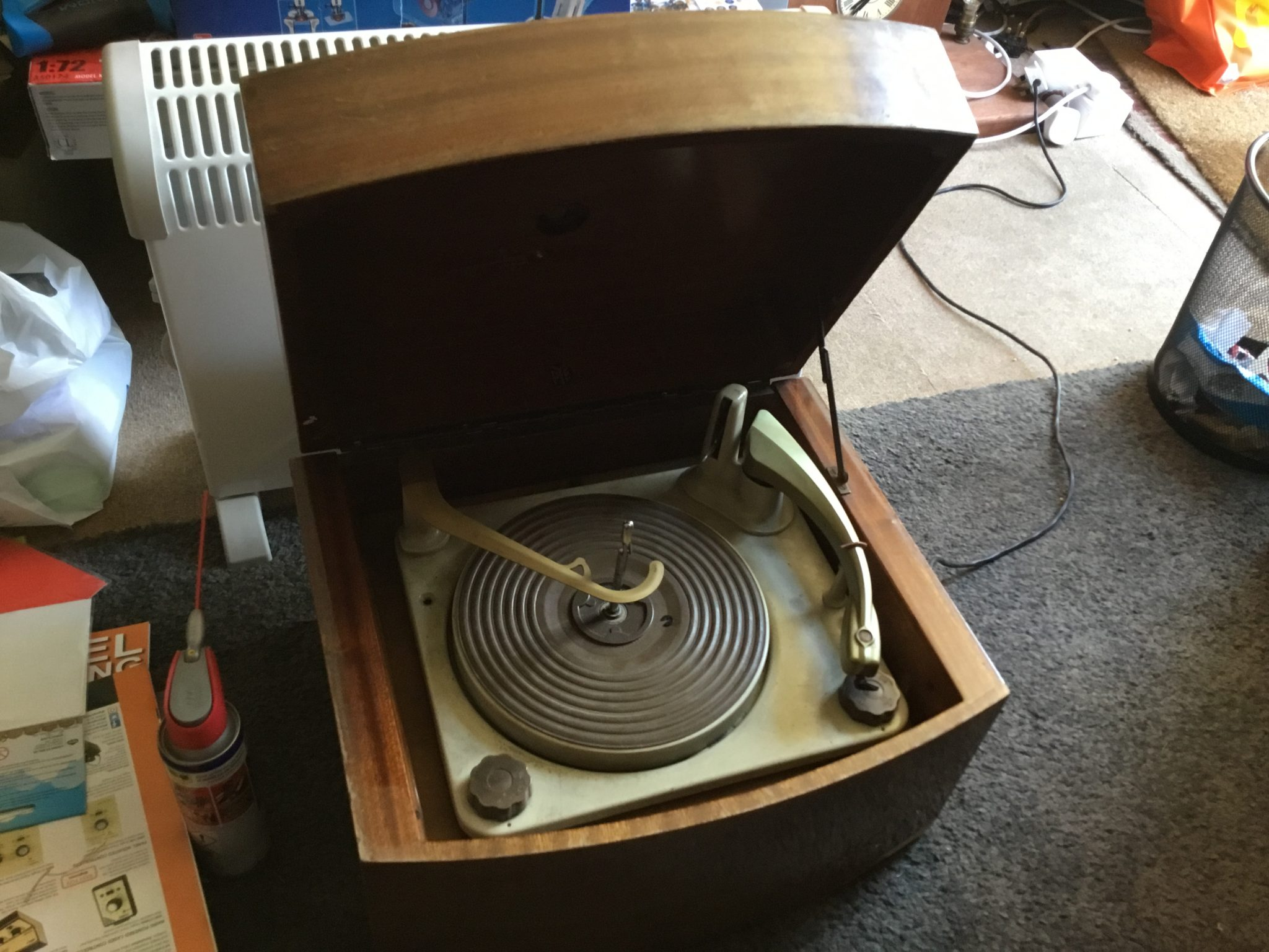 A vintage Pye Black Box record player bought for three pounds on Barnsley Market.
