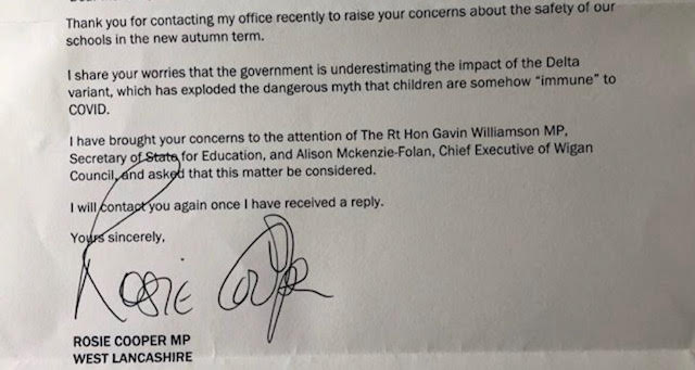Image of letter from Rosie Cooper MP